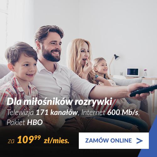 Telewizja 171 kanałów + pakiet HBO + Internet 600 Mb/s